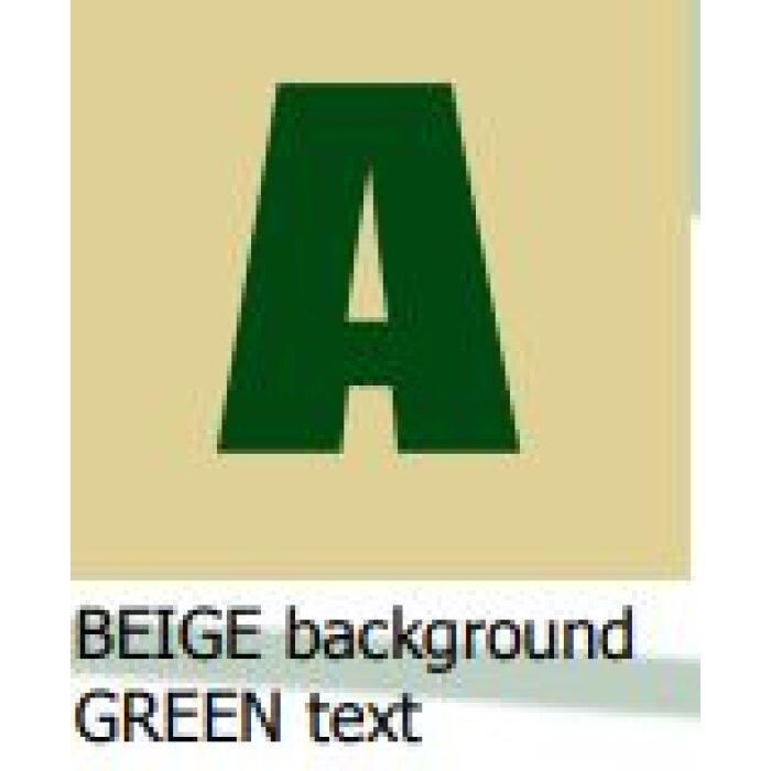 beige background green text