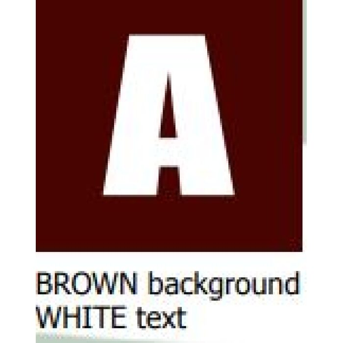 brown background white text