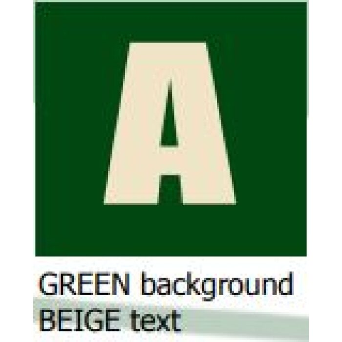 green background beige text