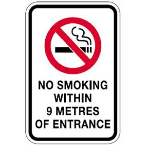 no smoking within 9 metres of entrance sign