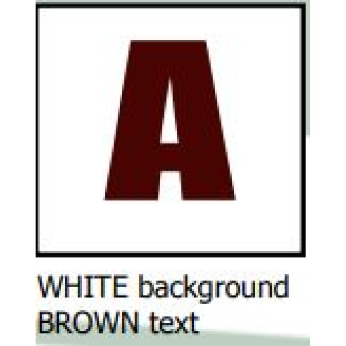 white background brown text