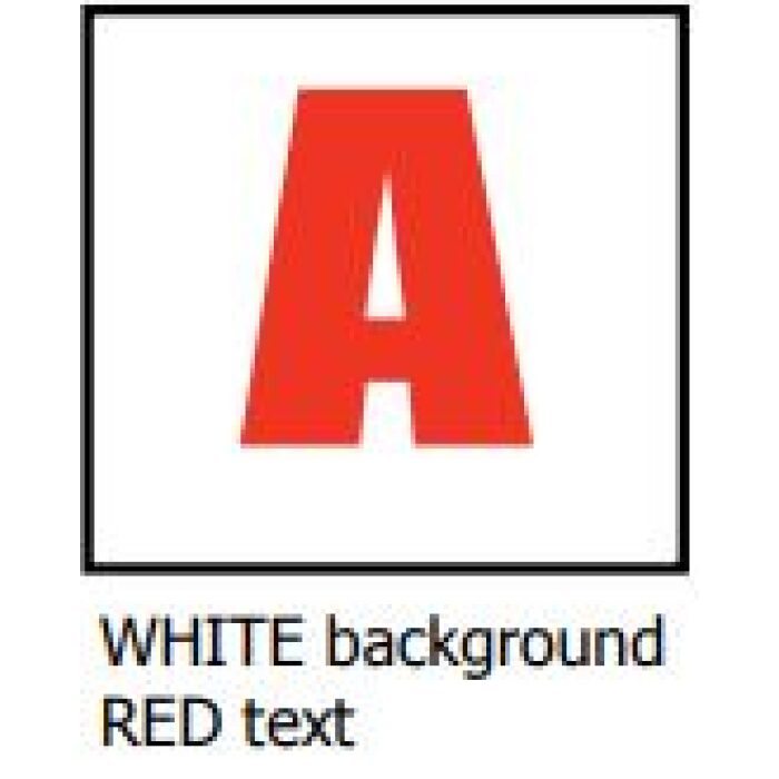 white background red text