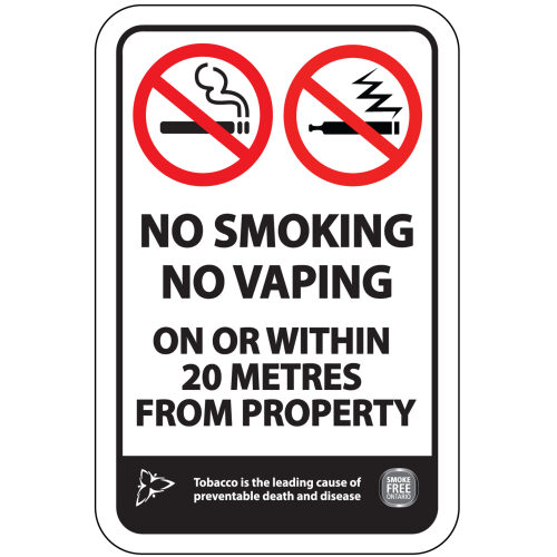 No Smoking / No Vaping Within 20 Metres – Smoke-Free Ontario