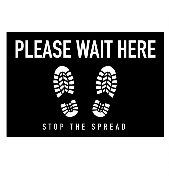 "floor graphic - ""please wait here stop the spread"""