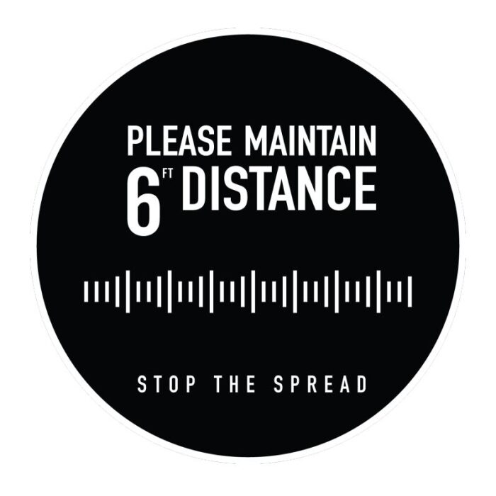 """floor graphic """"please maintain 6ft distance stop the spread"""""""