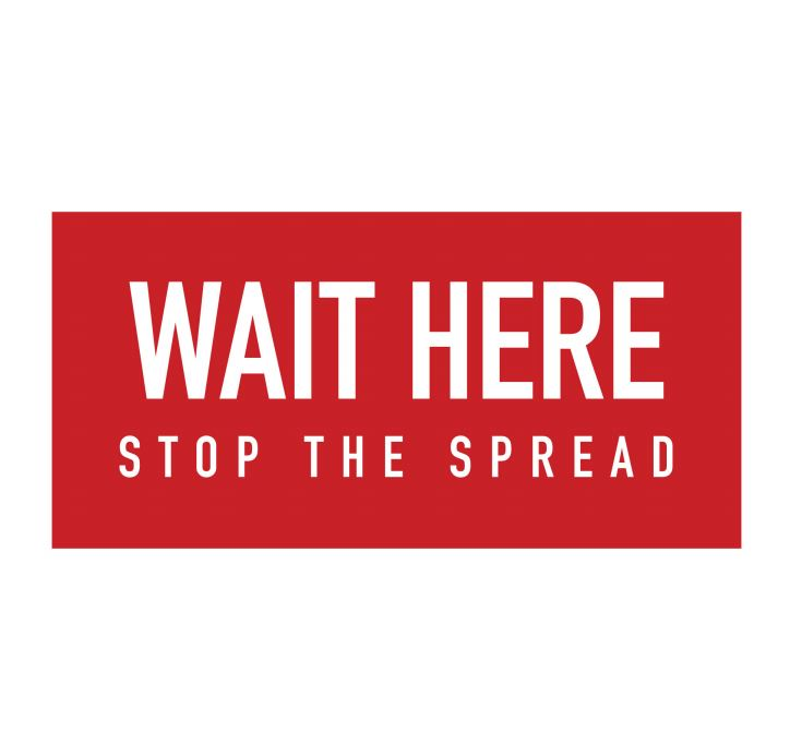 "floor graphic ""wait here stop the spread"""