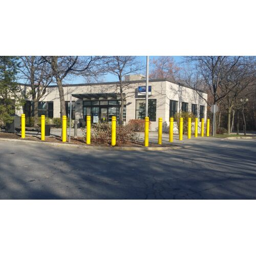 yellow bollards installed