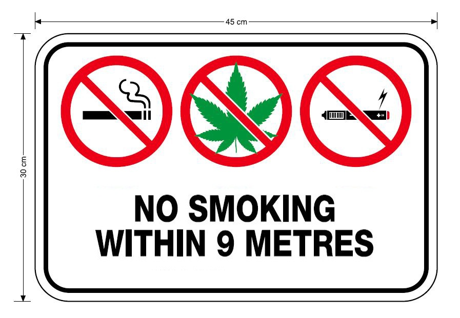 No Smoking within 9 metres