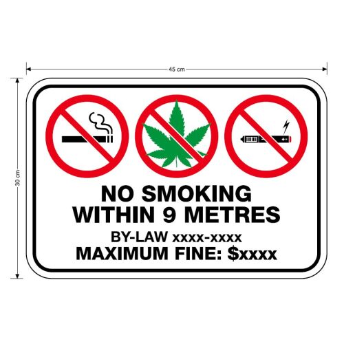 no smoking within 9 metres with bylaw and fine