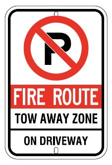 No Parking Fire Route Tow Away Zone