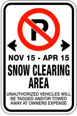 no parking - snow clearing area